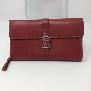 Coach Red Buckle Leather Wallet